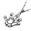 Fashion Jewelry Silvery Cut Black Paw Pendant Necklace