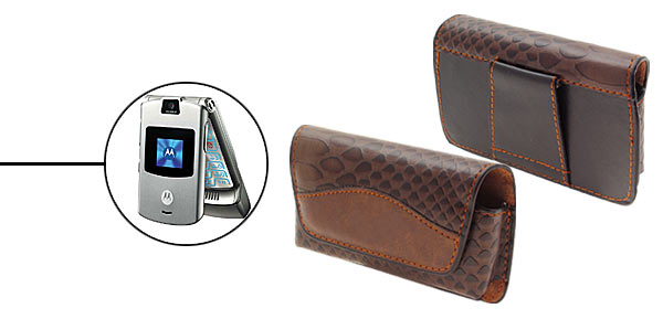 Brown Leather Case Holder for Motorola V3