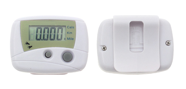 Mini White Pedometer Step Counter Cals/Km/Mile@