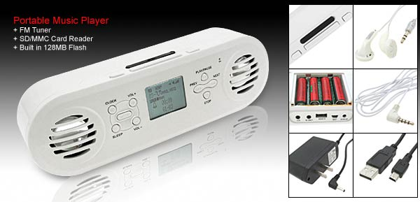Portable White Music Player FM Tuner SD/MMC Card Compatible- Built in 128MB Flash @