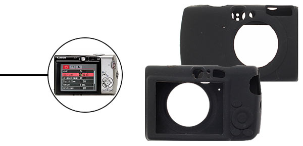 Silicone Skin Case for Digital Camera Canon IXUS 800 - Black@