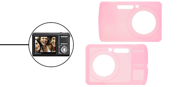 Silicone Skin Case for Digital Camera Casio Exilim Z500/Z600 - Pink@