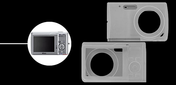 Silicone Skin Case for Digital Camera Nikon S200 - Transparent White@