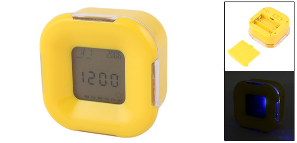 New Yellow Digital Square Clock with 2 Color Backlight