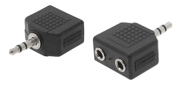 3.5mm 1 Male to 2 Female Headphone Earphone Headset Adaptor Splitter Black