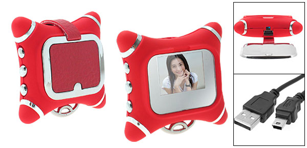 Rose Red 1.0 inch LCD Photo Frame Album Clock