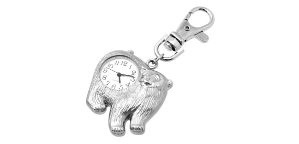 Fashion Jewelry Polar Bear Key Ring Quartz Clock Watch @