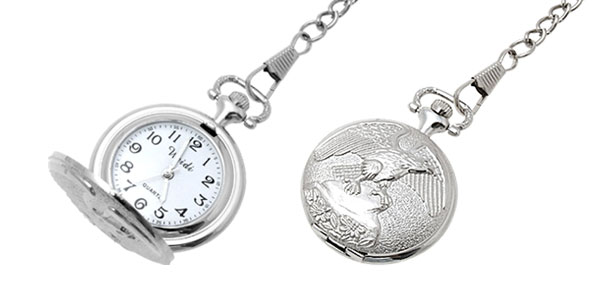 Fashion Jewelry Silver Eagle Embossed Quartz Pocket Watch