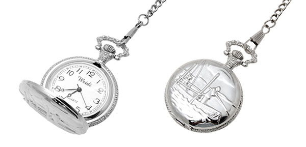 Fashion Jewelry Silver Boating Key Chain Quartz Pocket Watch