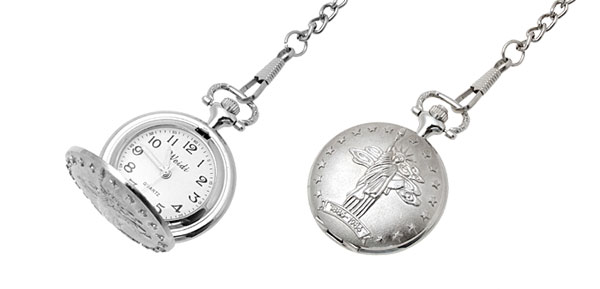 Fashion Jewelry Silver the Statue of Liberty Quartz Pocket Watch
