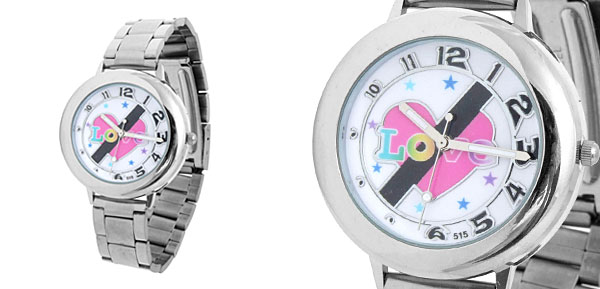 Fashion Jewelry Ladies Stainless Steel Love Quartz Watch