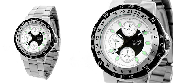 Alluring Round Faced Metal Band Man Quartz Watch