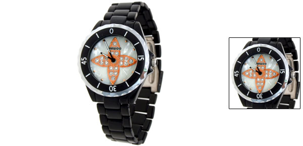 Orange Cross Metal Quartz Black Wrist Watch