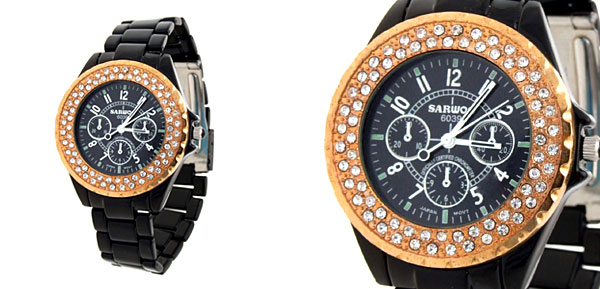 Fashion Rhinestone Quartz Metal Band Wrist Watch