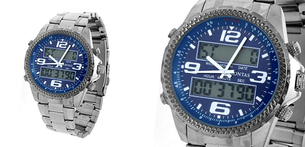 Multifunction Blue Round Faced Digital Quartz Wrist Watch