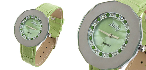 Fashion Jewelry Green Round Diamond Leather Ladies Wrist Watch
