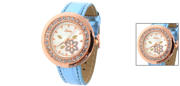 Fashion Jewelry Flower Blue Faux Leather Wrist Watch