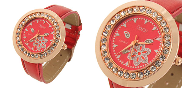 Fashion Jewelry Red Round Dial Crystals Ladies Wrist Watch