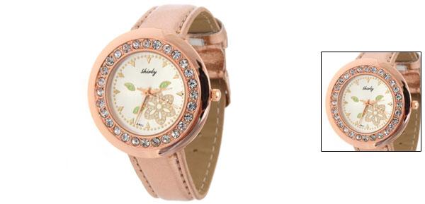 Flower Gold-tone Faux Leather Wrist Quartz Watch