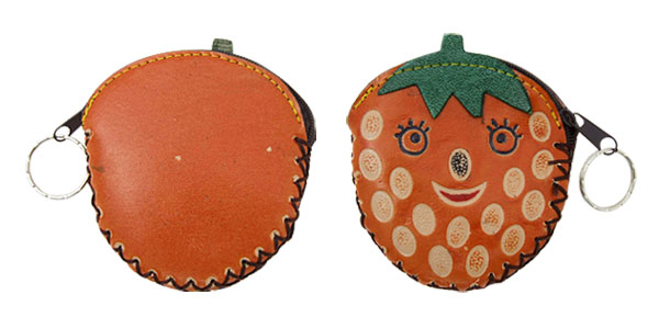 Keyring Strawberry Leather Zipper Wallet Coin Purse
