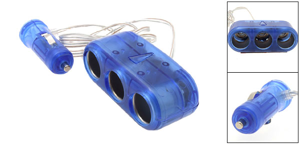 Mini Car Cigarette Lighter 3 to 1 Socket Splitter Adapter Kit