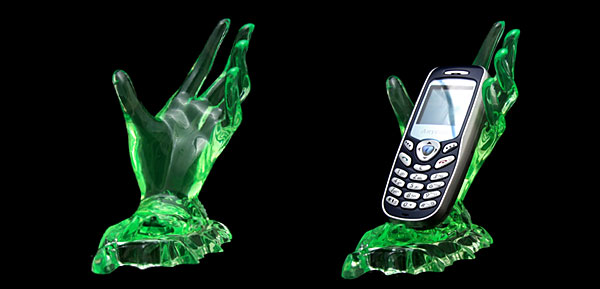 Deluxe Desktop Crystal Hand Holder for Mobile Phone Mp4 PDA - Light Green