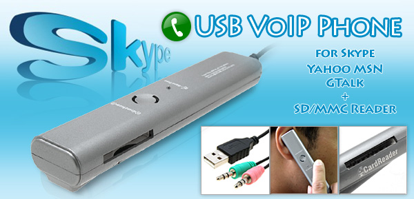 USB VoIP Phone for Skype Yahoo MSN GTalk  + SD/MMC Reader -metallic silver