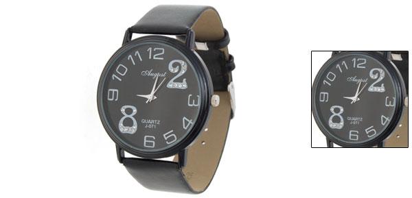 Faux Leather Round Quartz Wristwatch w/ Arabic numerals
