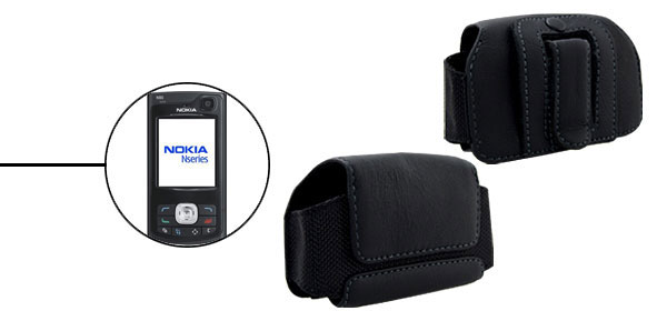 Black Faux Leather Protective Case Holder for Nokia N80
