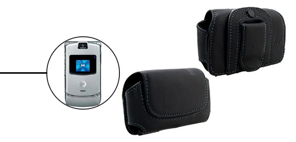 Faux Leather Cell Phone Pouch Case Holder for Motorola V3