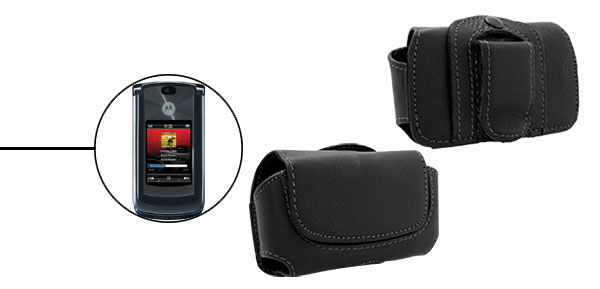 Faux Leather Cell Phone Pouch Case Holder for Motorola V8 Black