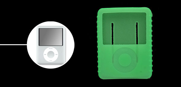 Protective Anti-slip Silicone Skin Case for iPod Nano 3G Green