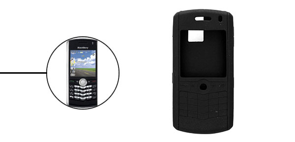 Black Silicone Skin Protector Case for Blackberry 8100