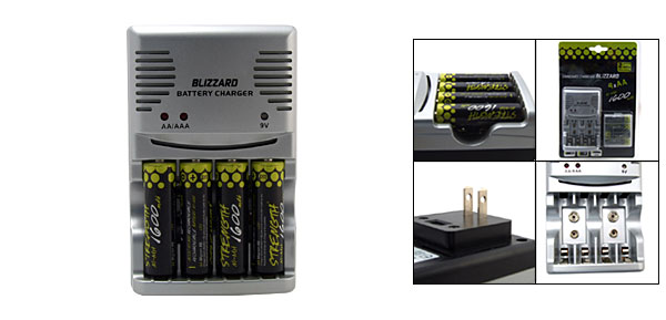 2P Flat Plug Ni MH Ni Cd AA/AAA Rechargeable Batteries Charger w Indicator
