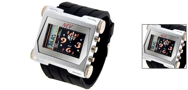 2 in 1 Digital & Quartz Multifunction Wristwatch Dark