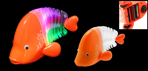 Rainbow Flash Light Singing Wriggling Fish Toy Orange