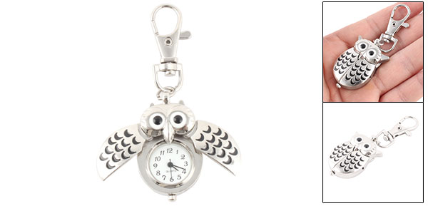 Vintage Style Owl Pendant Fob Clock Quartz Mini Key Ring Watch Silver Tone
