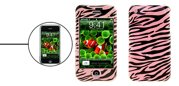 Hard Plastic Protector Case for Apple iPhone 1st - Pink Tiger