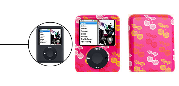 Plastic Hard Cover Case for iPod Nano 3G Pink w/Apple Pattern
