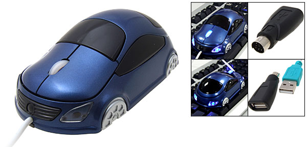 Cool Blue Car Style USB PS/2 3D Optical PC Mouse 800 dpi