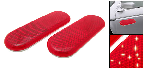 Pair Red Auto Car Reflector