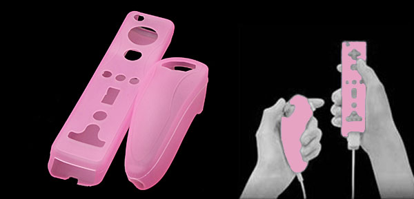 Pink Nintendo Wii Remote Controllers Skin Case Silicone