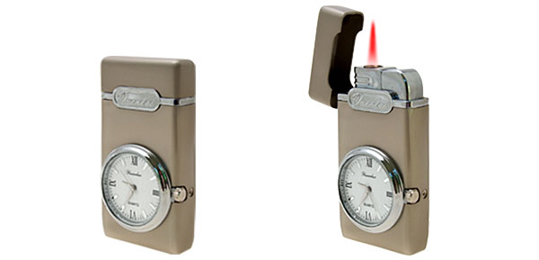 Unique Novelty Windproof Cigarette Lighter with Clock