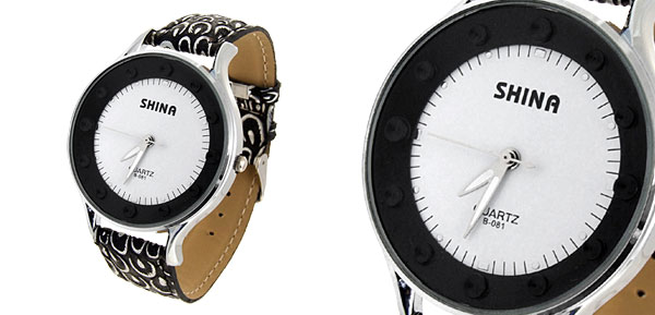 Jewelry Mushroom Pattern Black Band Quartz Watch