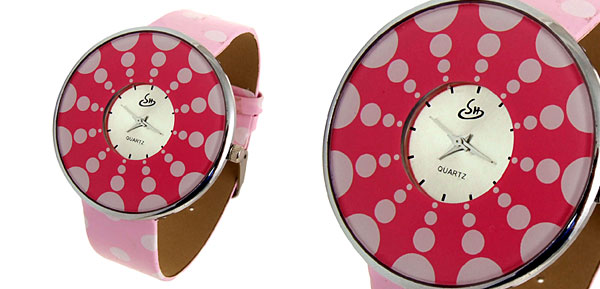 Fashion Jewelry Polka Dot Pink Band Quartz Watch