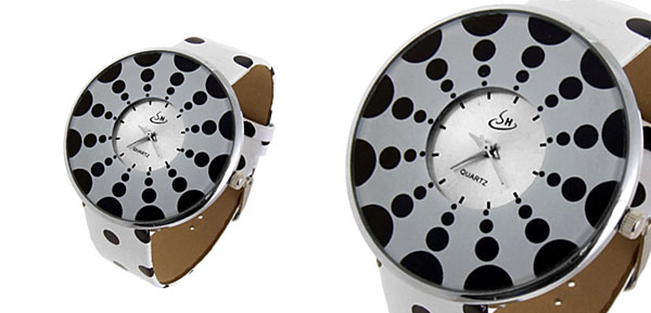 Jewelry Polka Dot White Band Quartz Watch