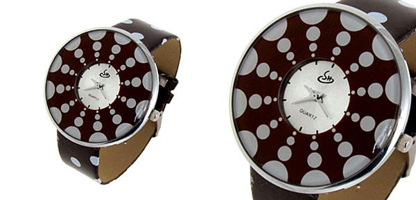 Jewelry Polka Dot Fleckiness Coffee Band Quartz Watch