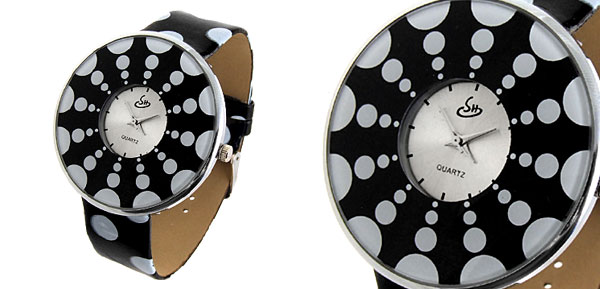 Jewelry Polka Dot Black Band Quartz Watch