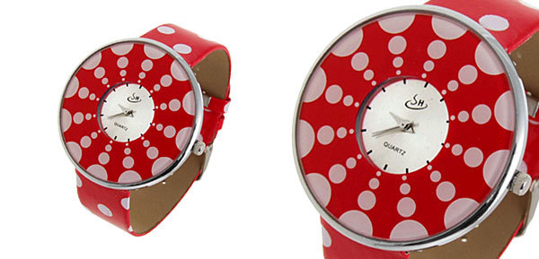 Jewelry Polka Dot Red Band Quartz Watch