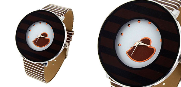 Jewelry Coffee Heart Stripe Coffee Band Quartz Watch